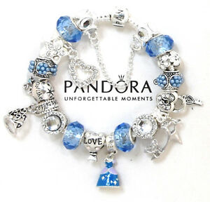 Image Is Loading Pandora Bracelet Silver Disney Princess Cinderella European Charms