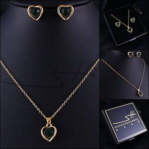 Halskette-amp-Ohrstecker-Damen-Edles-Herz-Gold-pl-Swarovski-Elements-Etui