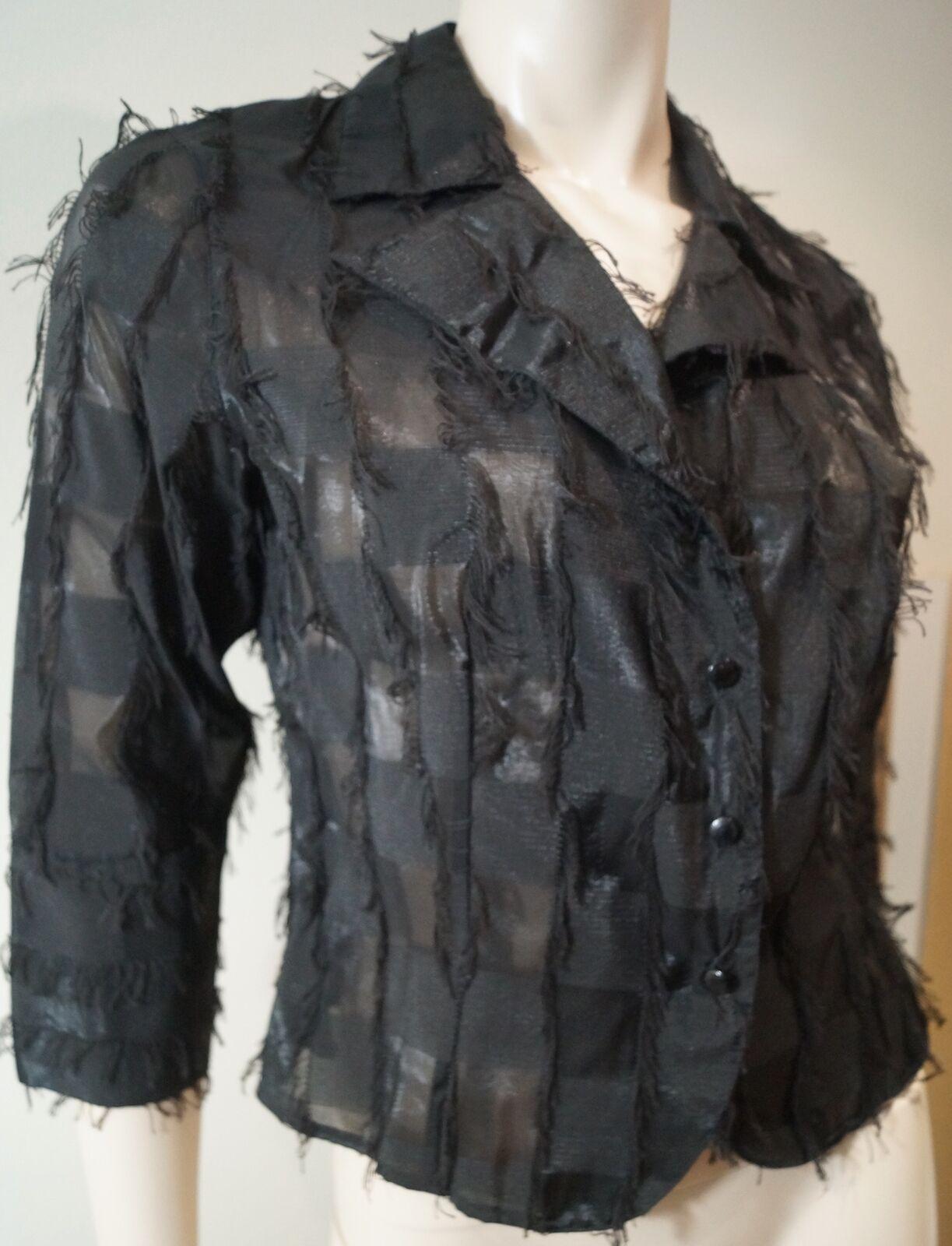 ANNE FONTAINE schwarz Cotton Blend V Neck 3 4 Sleeve Blouse Jacket Top Sz2 UK6