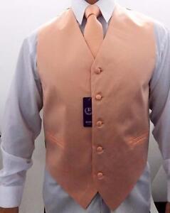 Men/'s Retro Suit Tuxedo 3 Pc Dress Vest Necktie Hanky Orange S,M,L,XL,2XL,3XL