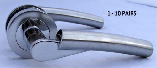 Moderne Fraîche Chrome Verona style courbé sur rond rose Levier Poignées de porte D7