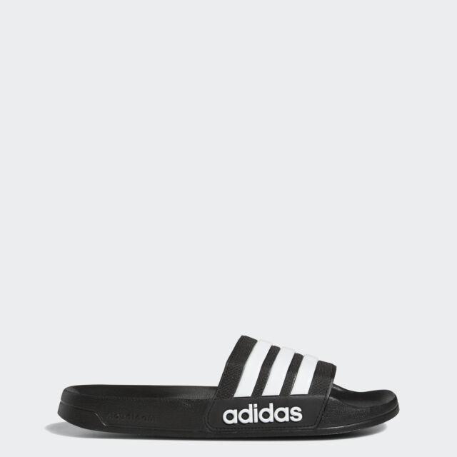 Mens adidas Adilette Slides Black White