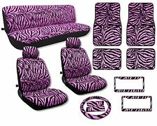 Pink Zebra Seat Covers Floor Mats Carpet Full Set License Plate Frames CS
