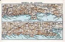Riviera di Levante 1912 picc. carta orig. Chiavari Sestri Moneglia Deiva Rapallo