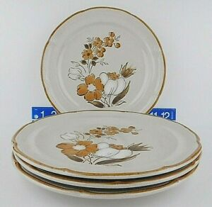 Lot-Of-4-Hearthside-Baroque-Autumn-Fair-Stoneware-Floral-Dinner-Plates-10-3-4-039-039