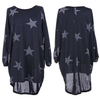 Plus Size Women Batwing Lagenlook Star Print Dress Tops Shawl Baggy Tunic Blouse