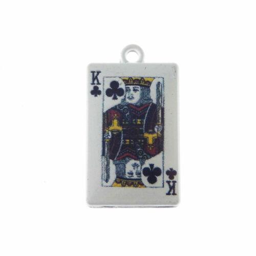 blanco tono Aleación Joyería Encantos Colgante de póquer Rey surtidos manualidades Pack de 10 un