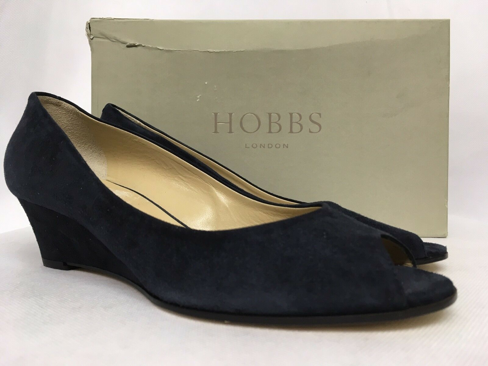 Hobbs Viv Open Toe Fine Suede Navy Court shoes. Various Sizes.