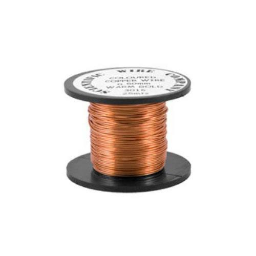 1 x Pale Bronze Plated Copper 0.9mm x 5m Round Craft Wire Coil W3016