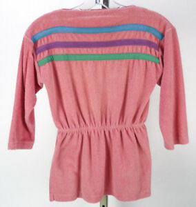 b36e5686c9 Vintage 70s Pink Terry Cloth Beach Coverup Top Girls L XL Colorful ...