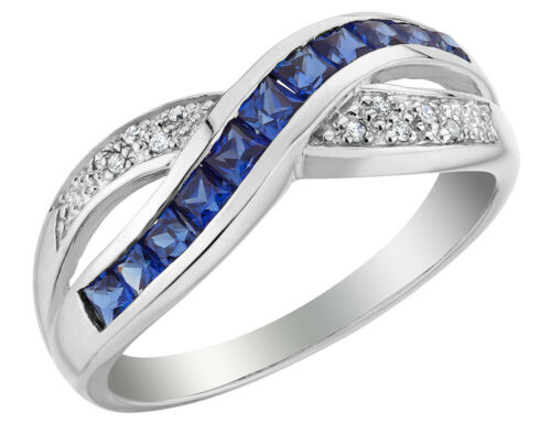 Cr Sapphire Ring with Diamonds 10K White Gold