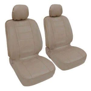 Car-Seat-Covers-Front-Pair-Leatherette-Synth-Beige-Arm-Rest-Slot-Premium-PU