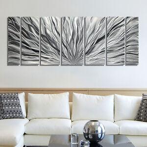 Large Silver Metal Wall Art BEAUTIFUL Design by Artist Jon Allen - Metal Decor