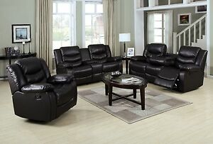 3p Motion Sofa Set Espresso Bonded Leather Sofa Loveseat Console Swivel Recliner