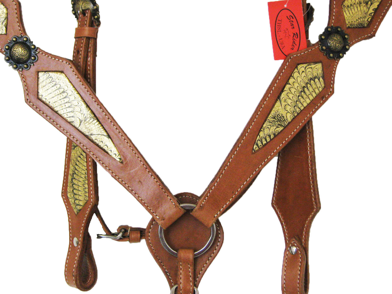 'THSL' HEADSTALL BREASTCOLLAR SET-FULL-NATURAL TAN goldEN INSERTS (1042))
