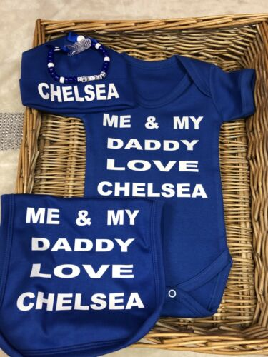 Chelsea Football Bodysuit Babygrow Bib Hat Vest FREE Dummy Clip