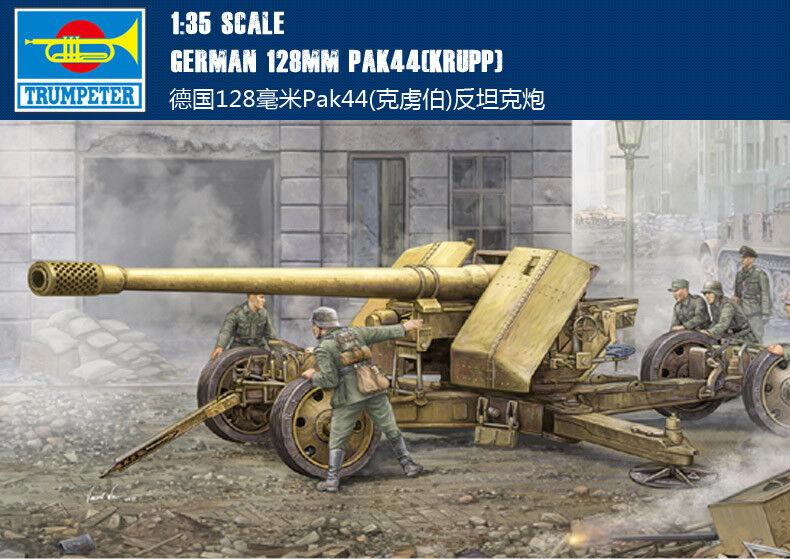GERMAN 128MM PAK44(KRUPP) 1 35 GUN Trumpeter model kit 02317