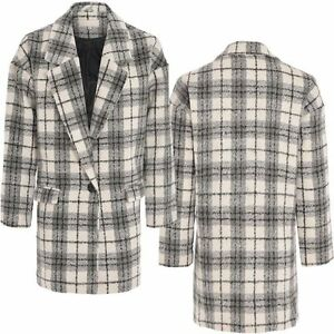 90694fe09bfb NEW WOMEN LADIES CHECK PRINT COAT LINED DUSTER JACKET SOFT WOOL LOOK ...