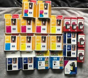 22-x-HP-Lexmark-noir-20-40-41-Cyan-Cartouches-d-039-encre-Out-of-date-Hewlett-Packard