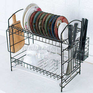 2-Tier-Dish-Drying-Rack-Stainless-Steel-Drainer-Tray-Kitchen-Space-Saver