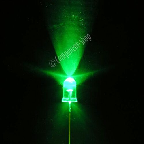 10 VERDE ultra-bright LED 5MM Chiaro Lente PK UK Venditore