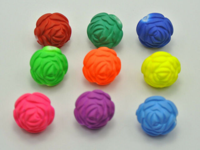 50 Mixed Fluorescent Neon Beads Acrylic Rose Flower Beads Charms 16mm