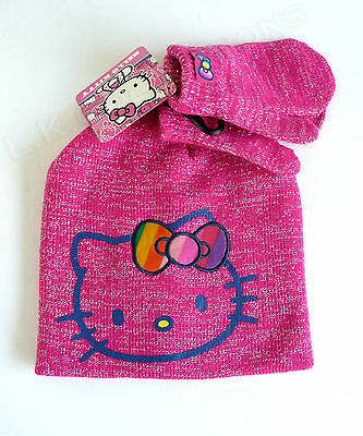 HELLO KITTY Pink Silver Beanie Knit Hat Mittens Set NWT SANRIO OFSM