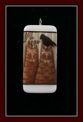 CROW AND CAT DOMINO PENDANT LOVE ONE ANOTHER