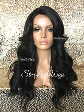 Long Full Wig Loose Wavy Bangs Layers Off Black #1b Heat Safe Ok