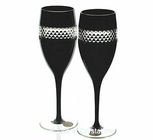 Other Bohemian/czech Art Glass 2 Ajka John Rocha Black Cased Cut To Clear Crystal White Wine Goblets New Art Glass