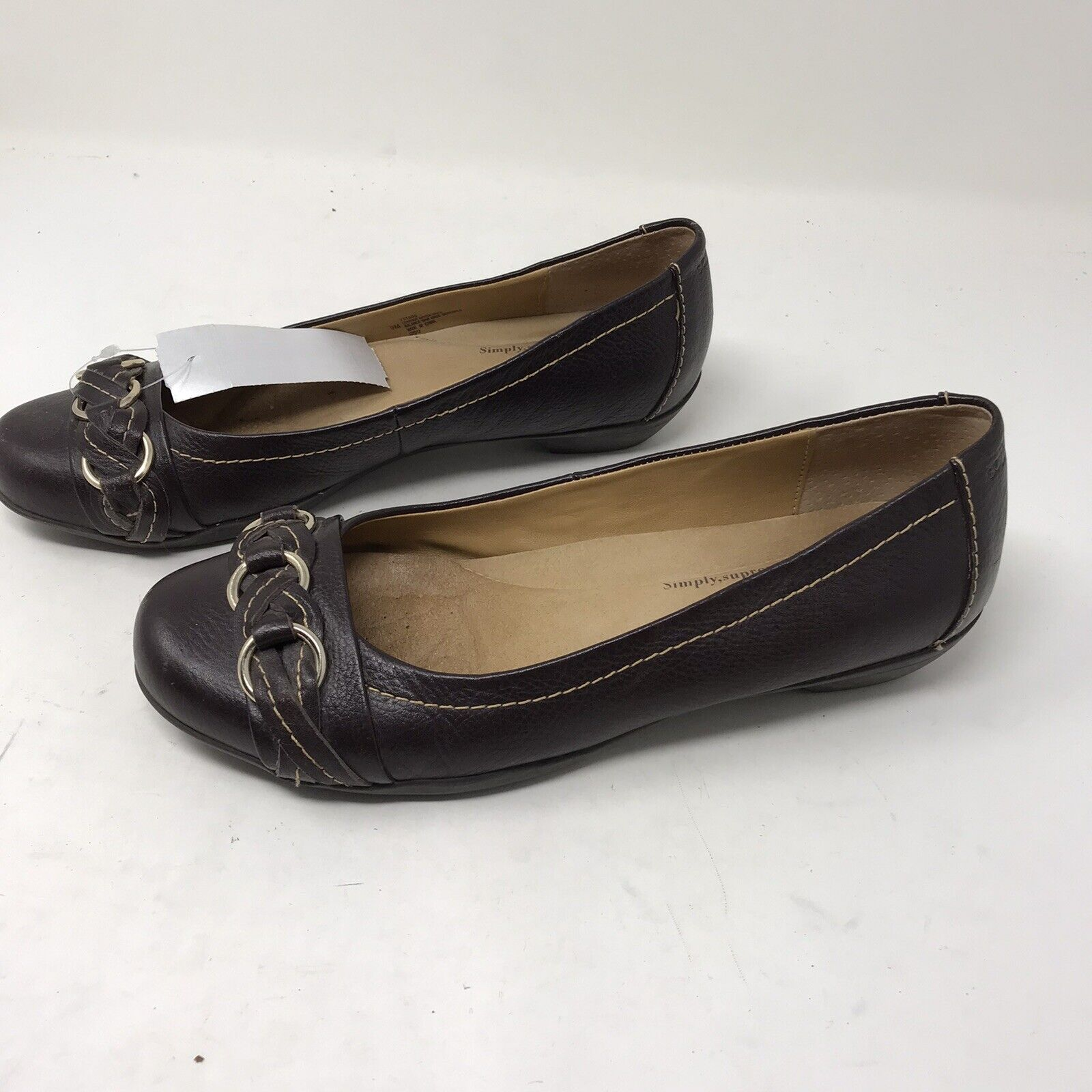 Softspots Womens Shoes Ballet Flats Brown Leather Slip-on Non-slip 9M