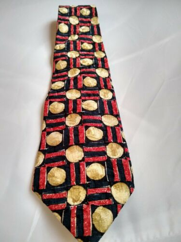 Vintage Bugatti Patterned Red Silk Tie