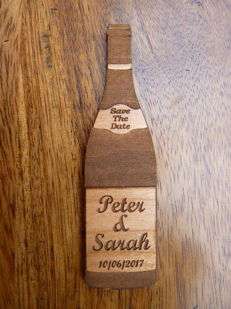 Wine Bottle Save The Date Fridge Magnet  Wooden Wedding Invitation Dates Magnets