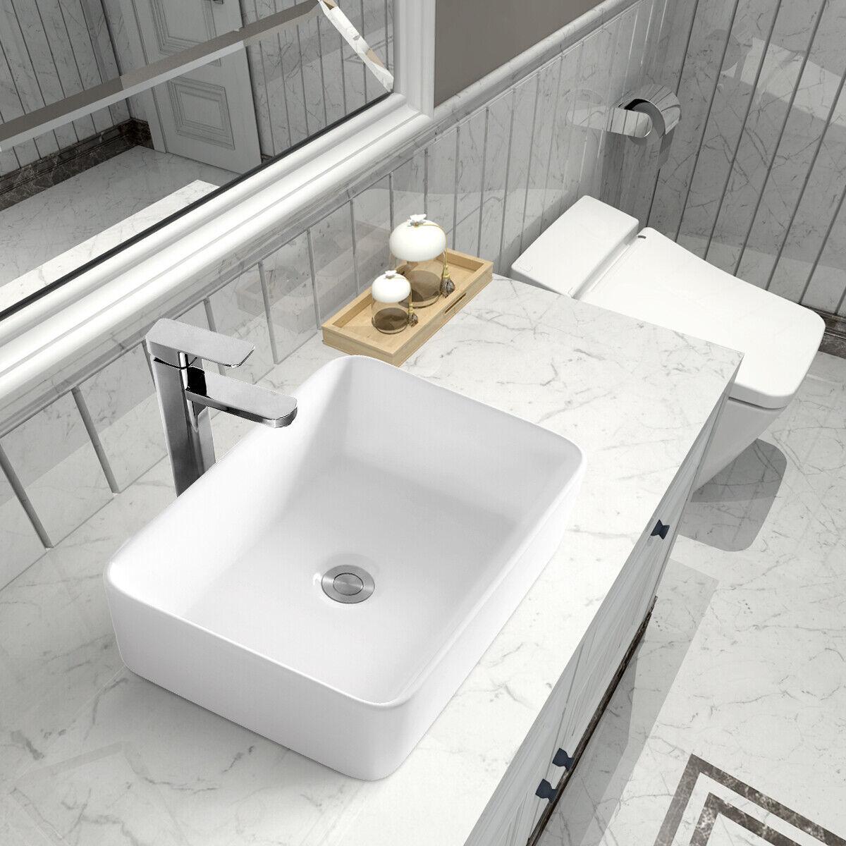Rectangle Bathroom Vanity Ceramic Above Counter Art Basin Porcelain Vessel Sink For Sale Online Ebay