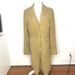NIGEL-PRESTON-Womens-Jacket-Brown-Tan-Suede-Leather-Long-Coat-Size-Large