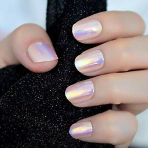24pcs unicorn chrome press on fake nails with designs