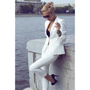 White-2-Piece-Suit-Womens-Ladies-White-Trouser-Suit-Business-Work-Wear-For-Women