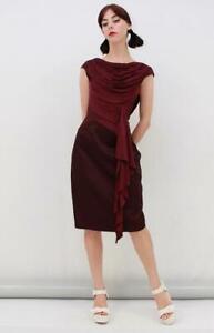 KAREN-MILLEN-Aubergine-Satin-Drape-CUTOUT-BACK-Pencil-Formal-Dress-Size-AUS-8-XS