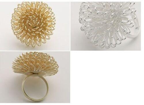 NEU Ring  silber oder gold Blüte Drahtgeflecht Gr 16,8 mm Ø 53 H26-39
