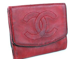 8c7575525c1e Authentic CHANEL CC Logo Caviar Red Leather Card Case / Coin Case ...