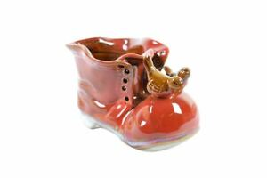 New-Red-Porcelain-Shoe-Boot-with-Frog-Pot-Bamboo-Plant-Pen-Holder-Muliti-Use