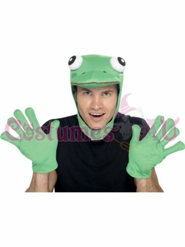 Adult Mens Frog Kit Animal Green Hood Gloves Fancy Dress Costume Accessories
