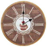 Patisserie Cupcake Design Kitchen Art Rustic Prints Decorative Wall Clock 13