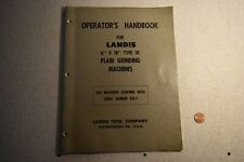Landis 6x18 Type 1r Plain Grinding Machines Operators Handbook Manual