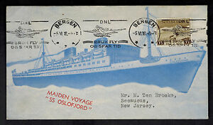 1938 Bergen Norway Cover to USA Maiden Voyage SS Oslofjord Ship
