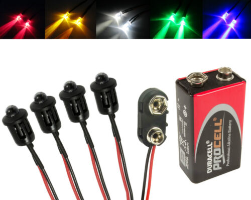 4x RC Helicopter Car Plane LED Lights PP3 Connector Battery Kit All Colours