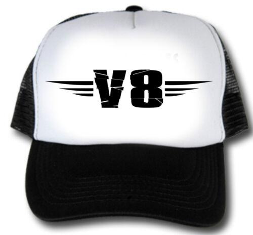 V8 Trucker Cap Race Old School Hot Rod Shirt Basecap Bike Casquette Retro Style