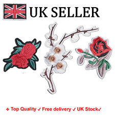 Set of 3Pcs Embroidery flower, rose, floral butterfly Sew Iron on Patch Badge