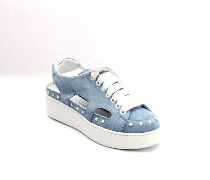 Nando Muzi 212a Sky bluee Suede Lace Rubber Platform Sneakers shoes 38.5   US 8.5