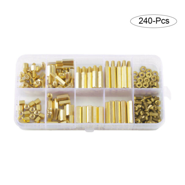 240Pcs/Box M3 Brass Copper Hex Column Standoff Spacer Screw Nut Assortment Kit